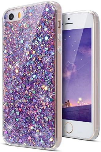 KunyFond Siliconen Phone Case TPU Case Bling Shiny Glitter Glitter Glitter Silicone Case voor iPhone SE5S5 Lila Pailletten