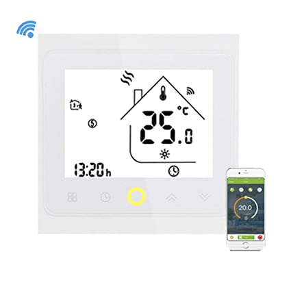 Qiruy Programmable Wifi Thermostat for Water Heating LCD Display Smart WIFI Temperature Controller Works with Alexa