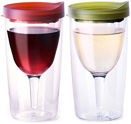 (Vino2Go Double Wall Acrylic Tumbler with Merlot and Verde Lids, 10 oz, Pack of 2)