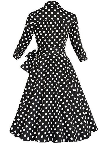 Belt Bow Retro Rockabilly Sleeve dots Aecibzo Black Dress V Swing Neck Half Vintage Deep Women's AvzxYqxT0