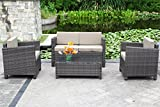 Outdoor Patio Furniture Set,Wisteria Lane 4 Piece Rattan Wicker Sofa Cushioned with Coffee Table, Grey
