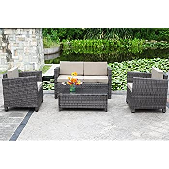 Outdoor Patio Furniture Set,Wisteria Lane 4 Piece Rattan Wicker Sofa  Cushioned With Coffee Table