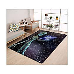 Kisscase Custom carpet Outer Space Decor Alien Body Planet in Milky Way Star Clusters Extraterrestrial Creature Image Multi