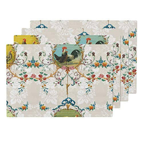 (Chicken Toile 4pc Organic Cotton Sateen Cloth Placemat Set - Chicken Farm Animal Floral Chickens Roosters Toile Vanilla Rococo French Country Flowers Farm by Lilyoake (Set of 4) 13 x 19in)