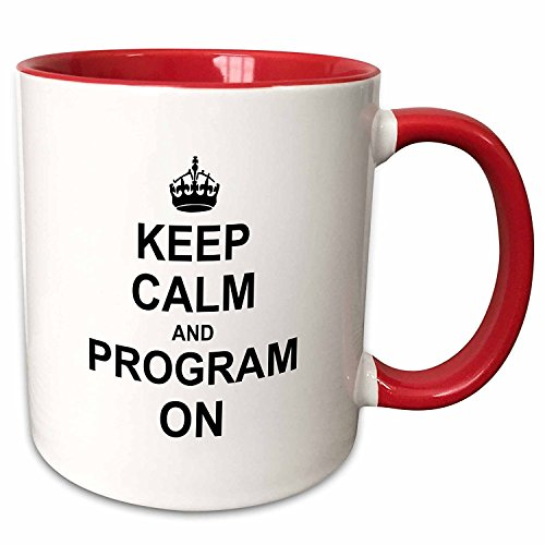 3dRose mug_157757_2 Keep Calm and Program on Carry on Programming Coding Programmer Job Gifts Fun Funny Humor Ceramic Mug, 15-Ounce