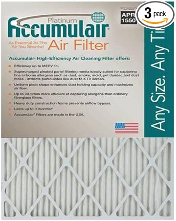 Actual Size Accumulair Platinum 13x24x1 3 Pack MERV 11 Air Filter//Furnace Filter