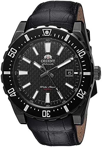 Orient Men s Nami Japanese Automatic Stainless Steel and Leather Diving Watch