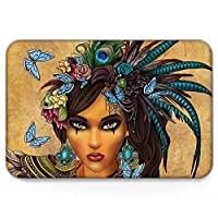 GreaBen Non Slip Welcome Doormat for Bedroom Living Room Kitchen Entrance Mat,Cool Women with Butterfly Pattern,Durable Washable Shoes Scraper Indoor Carpet,16 x 24 Inch