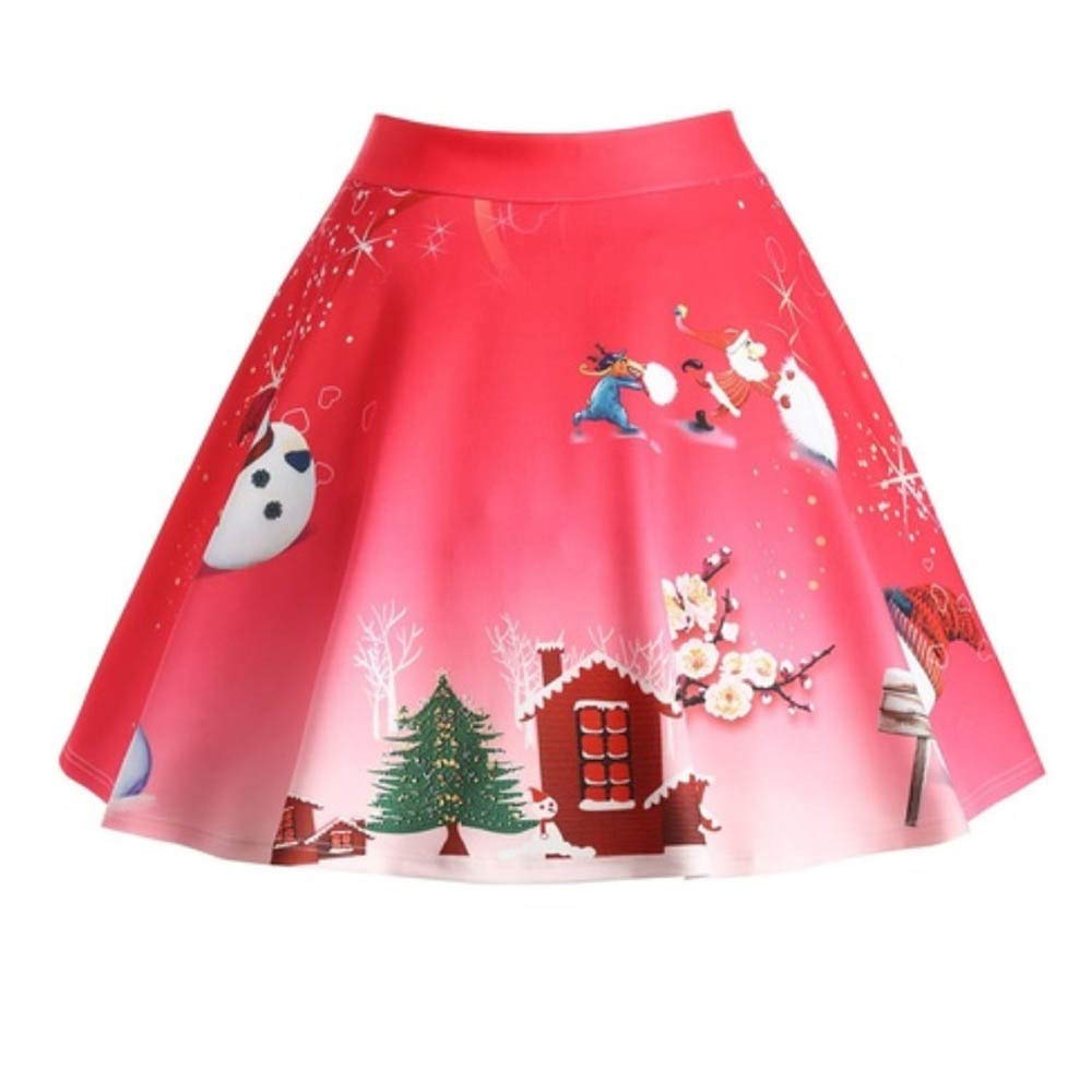 Clearance Forthery Womens Christmas Santa 3D Print Flared Party Skater Skirt