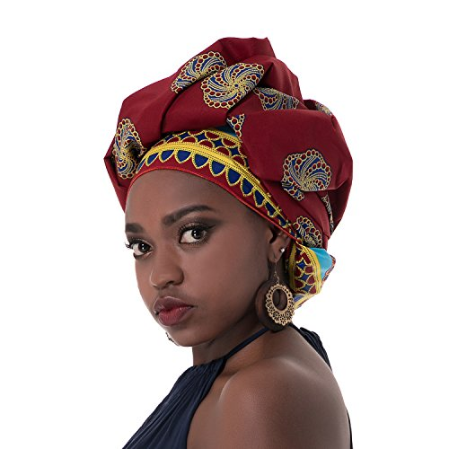 Chien Multi-color Urban Ladies Hair Accessory Headband,Bazin Wax Print Wrap Tie Scarf, African Head Scarf Gele Ipele (Red)