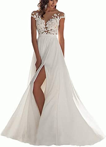Chady Wedding Dress Chiffon Beach Wedding Dresses lace Back Long Tail  Wedding Gowns Bride Dresses