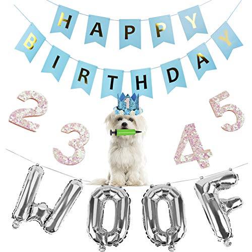 Legendog Dog Birthday Party Supplies Dog Birthday Hat Happy Birthday Balloons Banner Foil Balloons WOOF Letters Balloons for Dog Cat Birthday Decorations (Blue) -