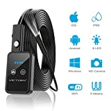 VICTONY 16.4FT 1200P Semi-rigid Wireless Endoscope, 2.0 MP HD WiFi Borescope Inspection Camera, Snake Camera for Android & IOS Smartphone Tablet