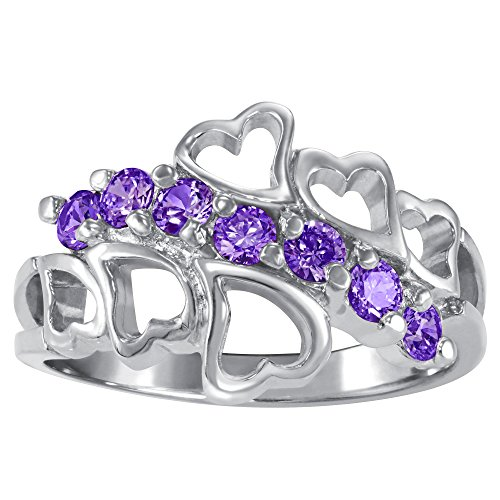 (ArtCarved Family Love Simulated Amethyst February Birthstone Ring, Sterling Silver, Size 7)