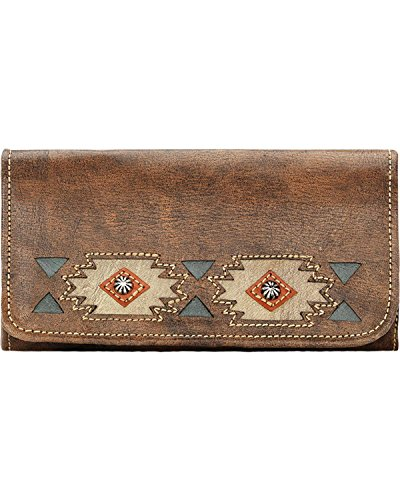 9083282 American West Women's Native Sun Tri-Fold Wallet - Charcoal Brown