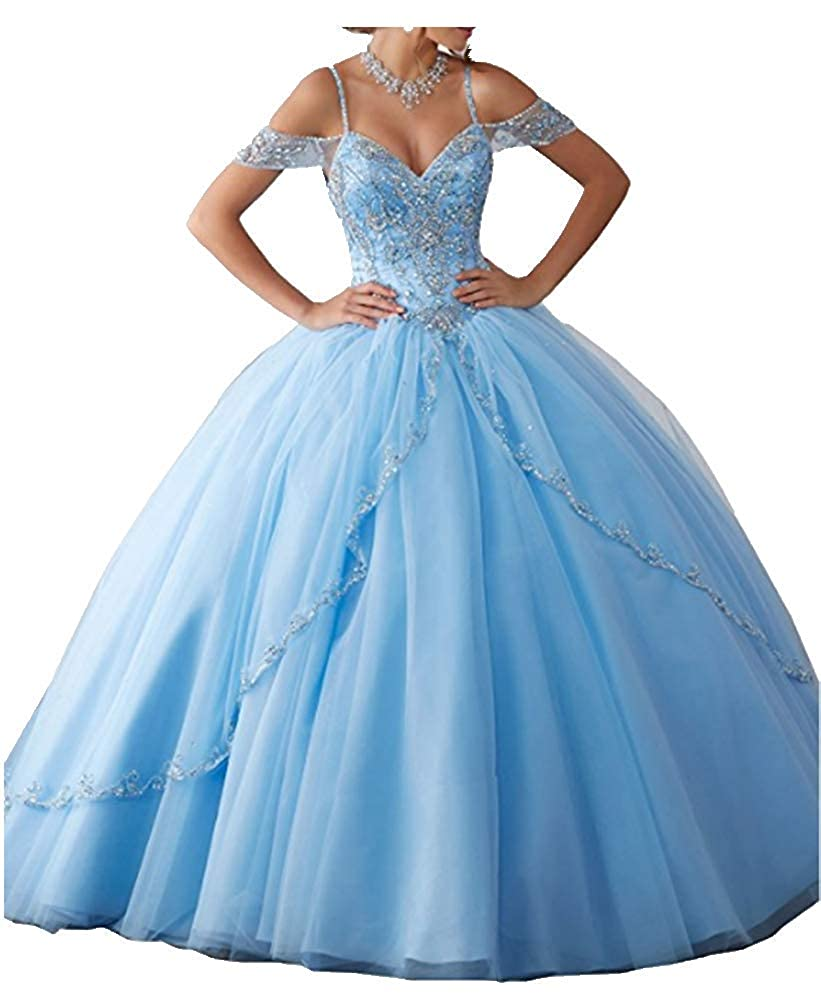 Light bluee FWVR Women's Spaghetti Straps Crystal Long Ball Gown Quinceanera Dresses Tulle Sweet 16 Dress