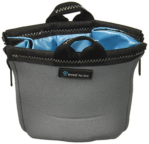 PaxBowl Portable Dog Bowl Fits Nalgene and HydroFlask Travel Outdoors for Hiking Hydration and Insulation, Collapsible, BPA Free Leak Free Liner, fits 32-40oz Water Bottles, RYKO Pet Gear (Grey) Collapsible Nylon Dog