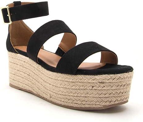 Amazon.com | Syktkmx Womens Flatform Sandals Strappy Espadrille Low Wedge  Heeled Platform Ankle Strap Summer Shoes | Platforms & Wedges