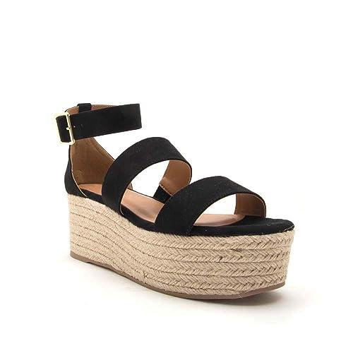 68574479493 Womens Espadrilles Platform Sandals Open Toe Scalloped Flatform Ankle Strap  Dress Shoes