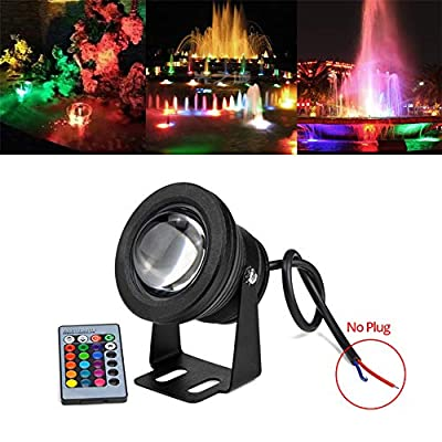 LED Underwater Pond Lights with Remote Control, 10W 12V 1000LM IP67 Diving Fountain Light for Landscape Swimming Pool Pond Piscina Fish Tank Aquarium Car Spotlight