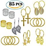 85pcs Dreadlock Braid Rings Set, YSLF Dreadlock Beads Accessories Braid Rings Braid Cuffs Hair Decoration Braid Jewelry for Hair Assorted Pattern Gold, Silver