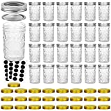 Glass Jars With Lids, VERONES 8 OZ Quilted Crystal Canning Jars with Lids and Bands, Ideal for Canning, Storing, Home Decor, 25 PACK, Extra 25 Golden Lids, 30 Chalkboard Labels Include