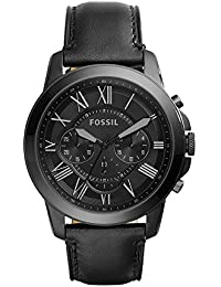 Men's Grant Quartz Stainless Steel and Leather Chronograph Watch, Color: Black (Model: FS5132)