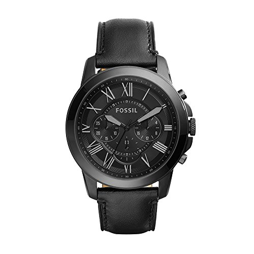 Fossil Men's Grant Quartz Stainless Steel and Leather Chronograph Watch, Color: Black (Model: ()