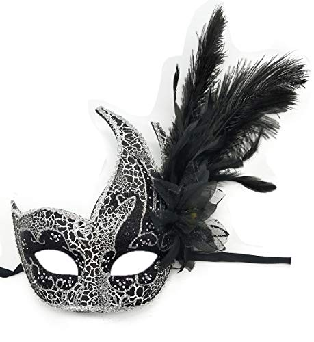 Biruil Feather Masquerade Mask Eyemask Halloween Mardi Gras Cosplay Party Face Mask (Crack A Black) ()