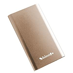 Portable Charger Shinngo 4000mAh Power Bank Ultra Slim External Battery Pack Covered with Aviation Aluminum, Total 3.1A Output and 2A Input, High-Speed Charger for Smartphones and Tablets (Golden)