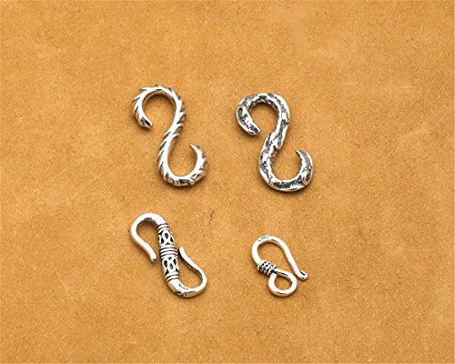 Luoyi Tibetan Style Thai Silver S-Hook Clasps (C011Y) (2#) (Thai Hook Earrings Silver)