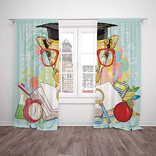 Cap Dr Seuss Graduation (SCOCICI Thermal Insulated Blackout Window Curtain [ Graduation Decor,Hipster Giraffe Animal Glasses Cap Geek Student Education School Decorative,Multicolor] Bedroom Living Room Dorm Kitchen Cafe)
