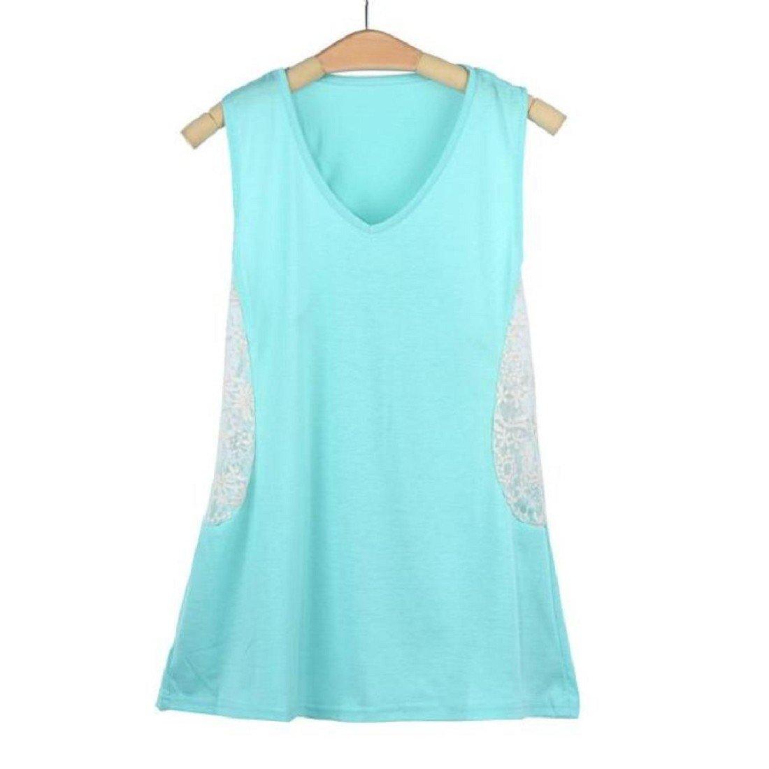 Tongshi Verano de Las Mujeres del Chaleco sin Mangas de la Camisa de la Blusa de Las Camisetas sin Mangas Ocasional
