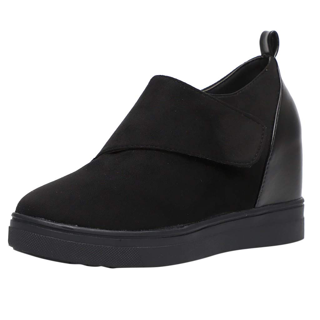 Kauneus  Wedgie Sneakers Platform High Top Wedge Booties Slip on Heeled Hollow Out Ankle Boots Black by Kauneus Fashion Shoes