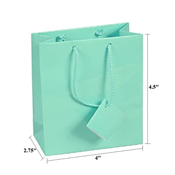 """Paper Gift Shopping Tote Bags Fancy Small 4/""""x2.75/""""x4.5/"""" Glossy Green 10-Pcs"""