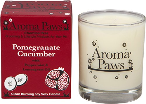 - Aroma Paws Candle in Glass with Gift Box, 8-Ounce, Pomegranate Cucumber