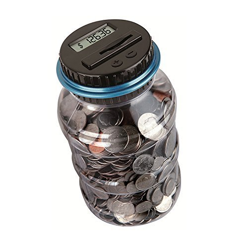 W.D Automatic Digital Coin Counter Money Jar-Automatic Coin Counter Totals All U.S. Coins Including Dollars and Half Dollars | Clear Jar with LCD Display