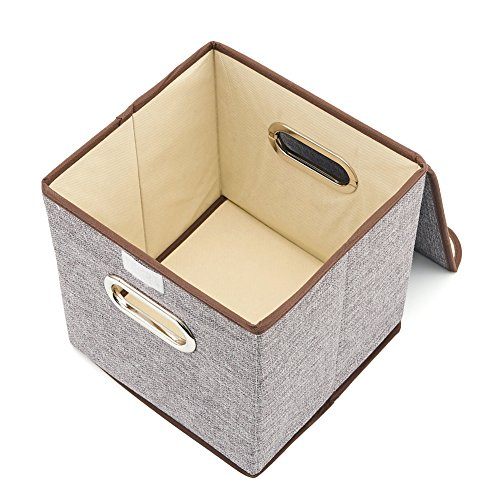 EZOWare Set of 6 Basket Bins Collapsible Storage Organizer Boxes Cube for Nursery Home Pale Dogwood