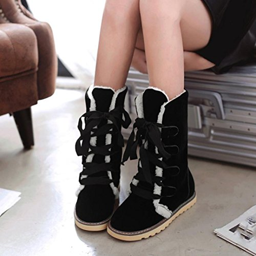 Elevin (tm) 2017Mujer Fashion Winter Warm Mid-becerro Vendaje De Nieve Botines Zapatos Negro