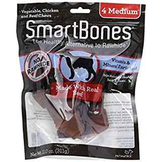 SmartBones SBB-02304 Medium Chews With Real Beef 4 Count, Rawhide-Free Chews For Dogs,Medium | 4-Count