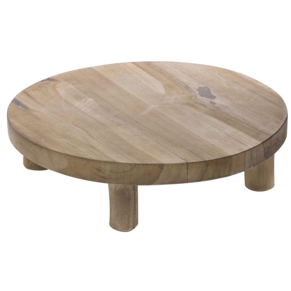 Teak Wood Display Riser - 12'' Dia x 3 3/4'' H