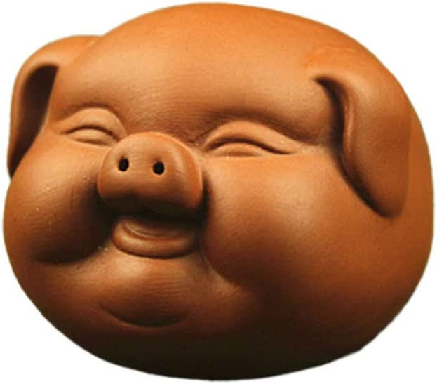 HEALLILY Ceramic Pig Figurine Chinese Zisha Purple Clay Pig Statue Tea Pet Decorations Collectible Figurines Home Office Gongfu Teatray Accessories Gift for Tea Lovers (Yellow)