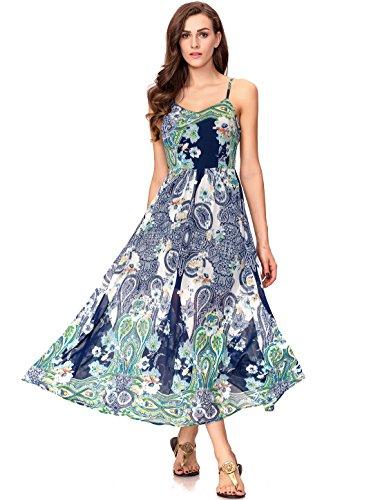 Noctflos Women's Summer Bohemia Spaghetti Strap Floral Maxi Dress L
