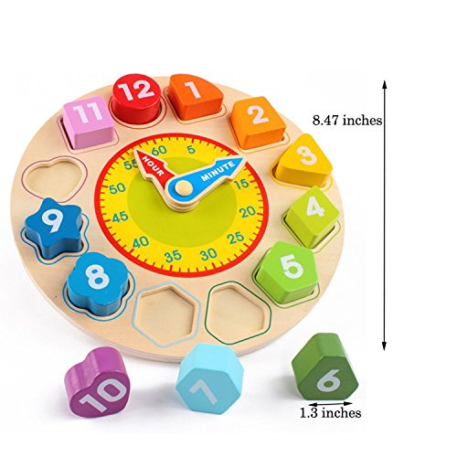 Joqutoys Wooden Shape Sorting Clock Puzzle Teaching Time Number Blocks Educational Toy for Kids by Joqutoys (Image #8)