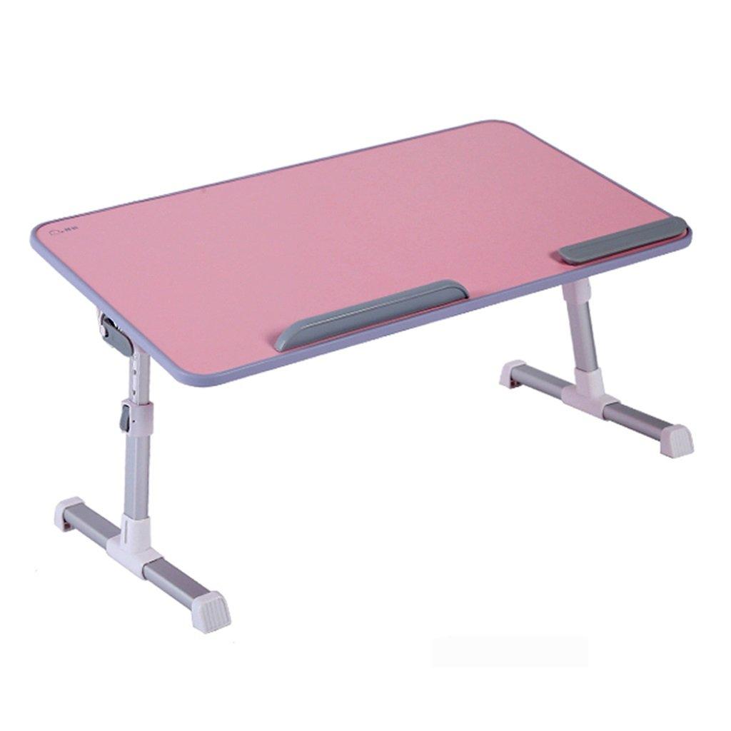 Laptop desk bed computer desk multi-function lazy laptop desk student wooden desk stylish foldable lifting table adjustable tilt (pink)