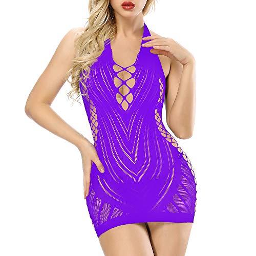 Purple Womens Fishnet Lingerie V-Neck Babydoll One-Piece Teddy Backless Mini Dress
