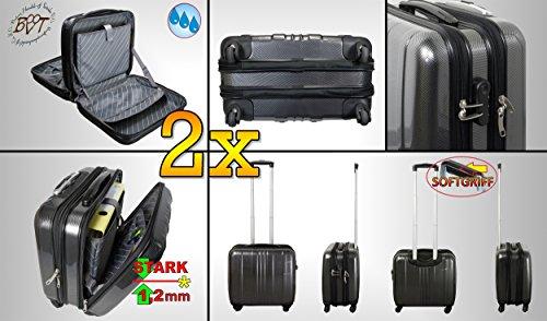 2 x Custodia da viaggio Trolley pilota + manico + ruote, nero nobile argento, valigetta da pilota-offerta, spazioso valigetta con scivolo classificazione.