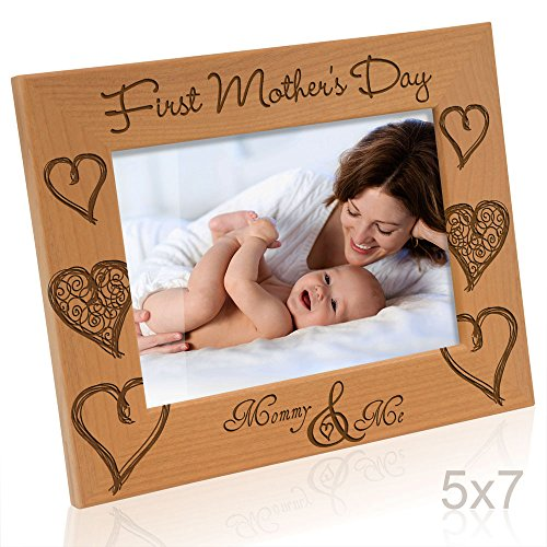 Kate Posh - First Mother's Day with Mommy & Me - Engraved Solid Wood Picture Frame (5