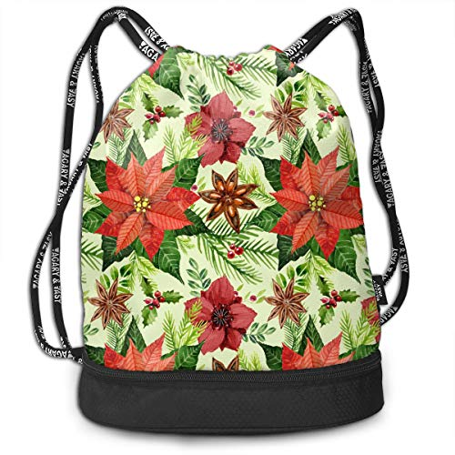 - Gymsack Poinsettia Flower Pattern Print Drawstring Bags - Simple Bundle Pocket Backpack