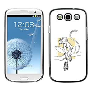 Planetar® ( Monkey Cute Tiny Minimalist White Clean ) SAMSUNG Galaxy S3 III / i9300 / i747 Fundas Cover Cubre Hard Case Cover